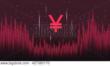 Yuan Cny Token Symbol On Dark Polygonal Background With Wave Of Lines. Cryptocurrency Coin Logo Icon