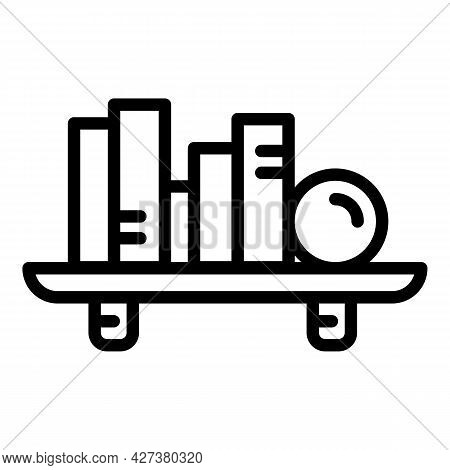 Book Shelf Icon. Outline Book Shelf Vector Icon For Web Design Isolated On White Background
