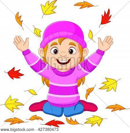 Vector Illustration Of Cartoon Little Girl Throwing Autumn Leaves