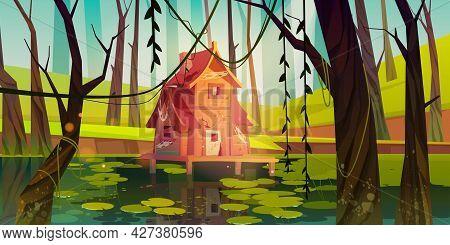 Old Stilt House In Swamp In Forest. Marsh Landscape With Abandoned Hut. Vector Cartoon Illustration