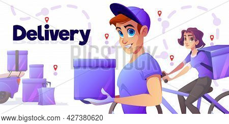 Delivery Poster With Man And Girl On Bicycle With Boxes. Vector Banner Of Deliver Service With Carto