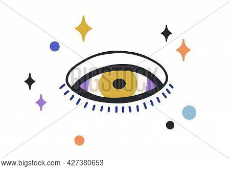 Composition Of Esoteric Evil Eye With Stars Around. Magic Holy Eyeball With Eyelashes In Doodle Styl