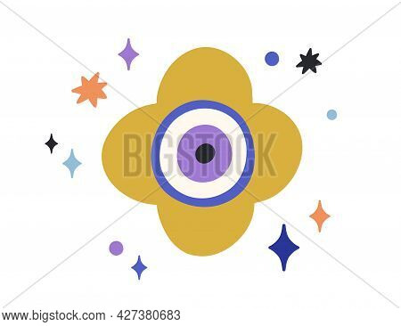 Composition Of Turkish Evil Eye With Stars Around. Magic Esoteric Round Eyeball In Doodle Style. Mys