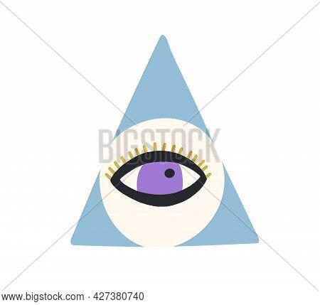 Esoteric Evil Eye With Eyelashes. Magic Spiritual Eyeball Inside Mason Pyramid. Abstract Mystical Ma