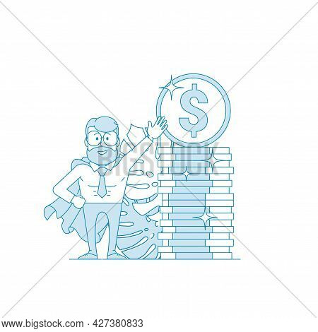 Financial Consultant Or Investor Points To A Stack Stack Of Coins.