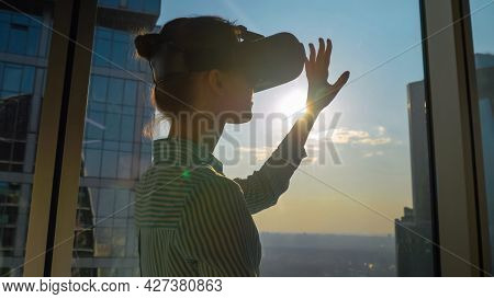 Vr, Sightseeing, Discover, Technology Concept. Woman Using Virtual Reality Headset And Moving Hand A