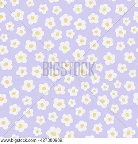 Cute Seamless Pattern With Primitive Naive Art Flowers In 70s Style