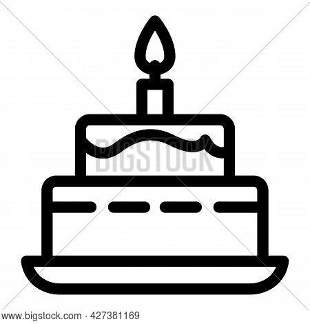 Burning Candle Birthday Cake Icon. Outline Burning Candle Birthday Cake Vector Icon For Web Design I