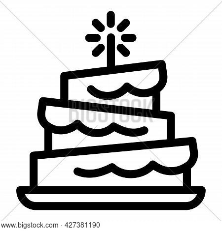 Funny Birthday Cake Icon. Outline Funny Birthday Cake Vector Icon For Web Design Isolated On White B