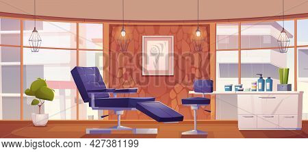 Tattoo Salon Interior With Furniture And Tools For Paint Art On Skin. Vector Cartoon Illustration Of