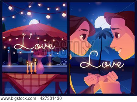Summer Love Cartoon Posters, Loving Couple Outdoor Dating With Flowers On Table And Glowing Candles