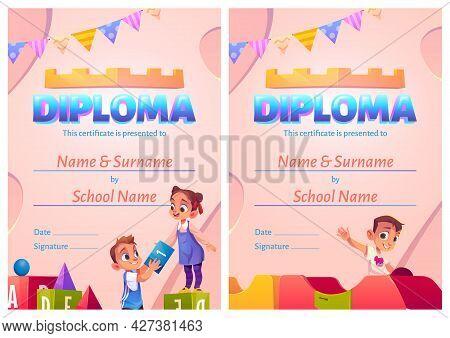 Kids Diploma, Cartoon Certificate With Children Fun In Playroom. Kindergarten, Preschool Graduation,