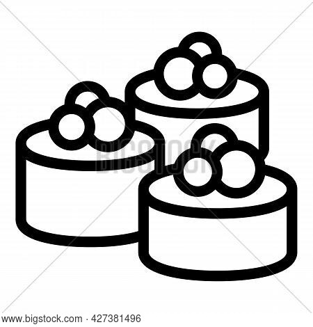 Caviar Sushi Roll Icon. Outline Caviar Sushi Roll Vector Icon For Web Design Isolated On White Backg