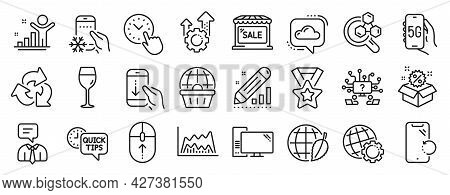 Set Of Business Icons, Such As Support Service, Seo Gear, Trade Chart Icons. Quick Tips, Chemistry L