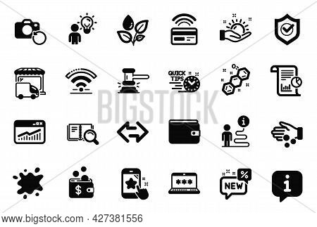 Vector Set Of Business Icons Related To Wifi, Recovery Photo And Judge Hammer Icons. Money Wallet, S
