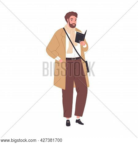 Adult Book Fan Reading Literature. Man Standing With Novel In Hands. Modern Professor Holding Textbo