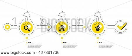 Business Infographic Template. Timeline With 3 Steps. Workflow Process Diagram With Research, Teamwo