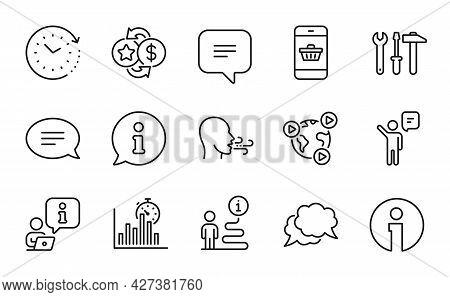 Technology Icons Set. Included Icon As Spanner Tool, Report Timer, Info Signs. Chat, Smartphone Buyi