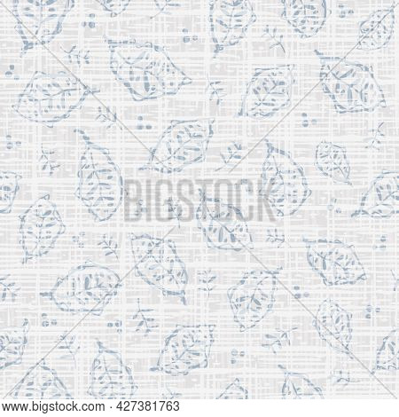 Hand Drawn Modern Leaf And Linen Vector Seamless Pattern Background. Neutral Painterly Backdrop Scat