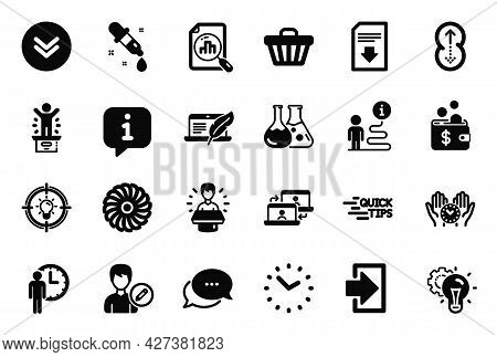 Vector Set Of Technology Icons Related To Analytics Graph, Outsource Work And Dots Message Icons. Sh