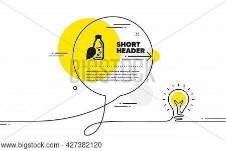 Water Bottle Icon. Continuous Line Idea Chat Bubble Banner. Soda Aqua Drink Sign. Mint Leaf Symbol.