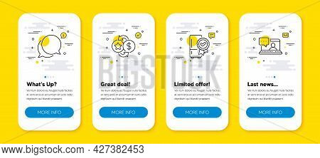 Vector Set Of Loyalty Points, Chat Message And Certified Refrigerator Line Icons Set. Ui Phone App S