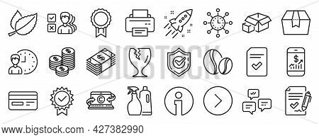 Set Of Line Icons, Such As Confirmed, Mint Leaves, Packing Boxes Icons. Checked File, Shampoo And Sp