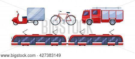 Urban Transport Set. Public Transportable Vehicle Cars Transport: Scooter, Motor Scooter, Motorcycle