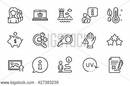 Line Icons Set. Included Icon As Women Headhunting, Ranking Stars, Online Shopping Signs. Lighthouse