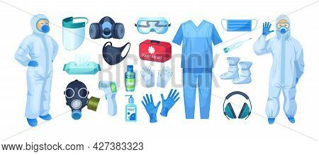 Medical Personal Protective Equipment Set. Safety Medical Respiratory Mask, Industrial Safety Mask,