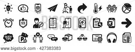 Set Of Technology Icons, Such As Packing Boxes, Parking Security, Employees Teamwork Icons. Headphon