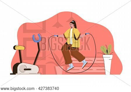 Active Sport Concept. Woman Jumping Rope. Cardio Workout In Gym Situation. Body Exercises, Fitness T