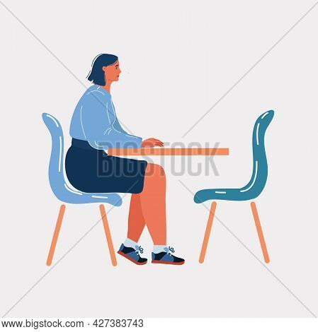 Vector Illustration Of Upset Woman Sitting Alone At Table. Empty Chair Opposite Of Her.