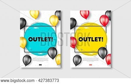 Outlet Text. Flyer Posters With Realistic Balloons Cover. Special Offer Price Sign. Advertising Disc