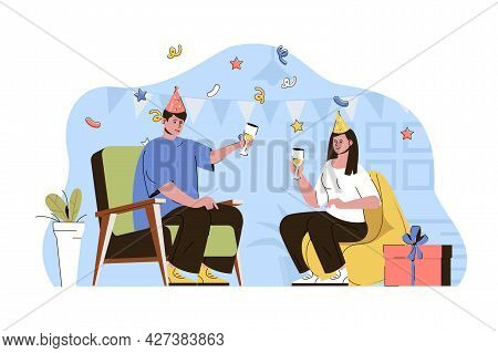 Anniversary Party Concept. Couple Celebrates Birthday In Holiday Hats, Congratulation Situation. Fes