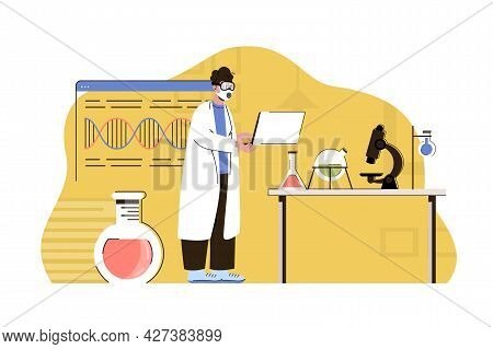 Biological Discoveries Concept. Scientist Is Engaged In Research In Laboratory Situation. Microbiolo