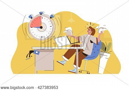 Burning Deadline Concept. Angry Employee Does Not Complete Work Task Situation. Work Stress, Time Ma