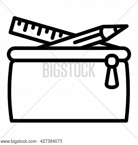Pencil Case Icon. Outline Pencil Case Vector Icon For Web Design Isolated On White Background