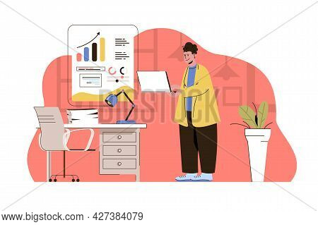 Business Strategy Concept. Employee Analyzes Data And Develops Strategy Situation. Project Growth Pl