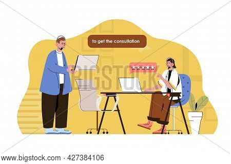 Call Center Concept. Man And Woman Operators Answering Customer, Assistance Situation. Technical Sup