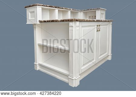 Kitchen Island In Country Style With Granite Countertops Isolated On Gray Background