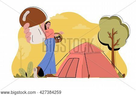 Camping Holiday Concept. Woman Resting With Tent In Forest, Picking Mushrooms Situation. Outdoor Act