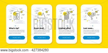 Vector Set Of Calculator, Technical Info And Line Chart Line Icons Set. Ui Phone App Screens With Li