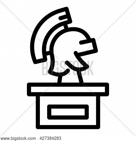 Roman Helmet Icon. Outline Roman Helmet Vector Icon For Web Design Isolated On White Background