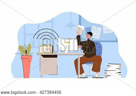 Catch The Deadline Concept. Employee Is In Hurry To Finish Work Task, Alarm Ringing Situation. Time