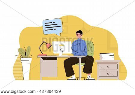 Chief Clerk Concept. Employee Performs Paperwork, Maintains Company Document Flow Situation. Office