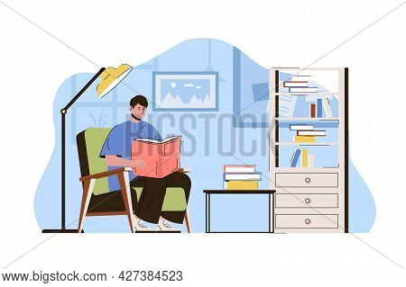 College Student Concept. Teenager Reads Book, Studies Subject From Textbook Situation. Pupil Learns