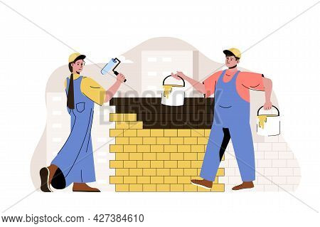 Construction Team Concept. Painters Paint Wall, Builders Work On Building Site Situation. Real Estat