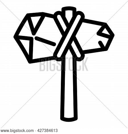 Ancient Hammer Icon. Outline Ancient Hammer Vector Icon For Web Design Isolated On White Background