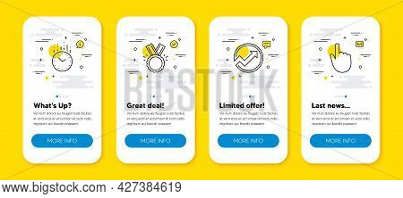 Vector Set Of Time, Audit And Honor Line Icons Set. Ui Phone App Screens With Line Icons. Hand Click